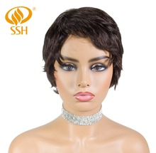 SSH Short Straight Brazilian Wigs For Black Women Non Remy Human Hair Wig