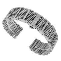 Silver/Black 20/22/24mm Shark Mesh Stainless Steel Watchband Push Button Hidden Clasp Men Watches Strap Adjustable Bracelet