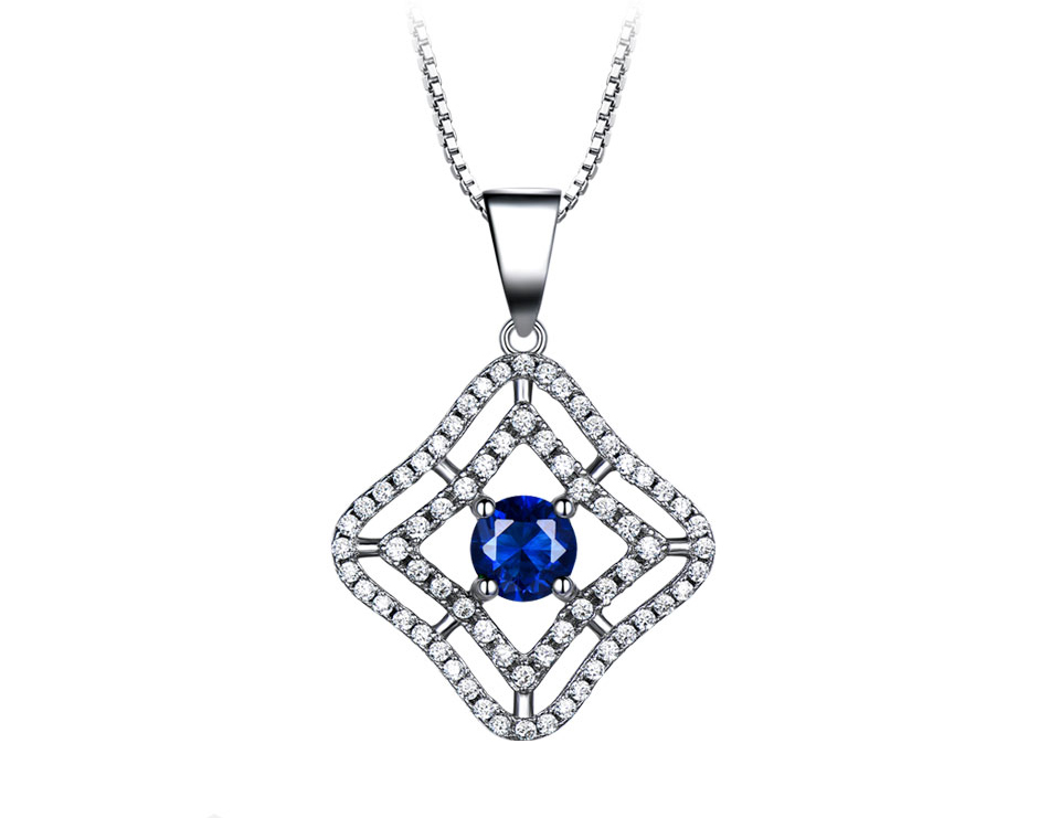Honyy Sapphire 925 sterling silver jewelry set for women S023S-1 (2)