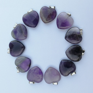 Image 2 - Fashion Good quality Purple crystal 20mm heart Natural stone pendants Charm Jewelry Love pendant for jewelry making 50Pcs/lot