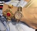 Wrist Watches Quartz-Watch High-Grade Women's Watch Rose Gold Diamond Bracelet With A Calendar Personality Small dial