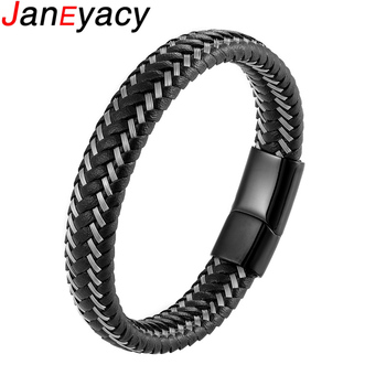 2019 New 12mm Casual Woven Leather Bracelet Men's Bracelet Ladies Stainless Steel Bracelet Black Brown Jewelry Gift 19/21/23cm