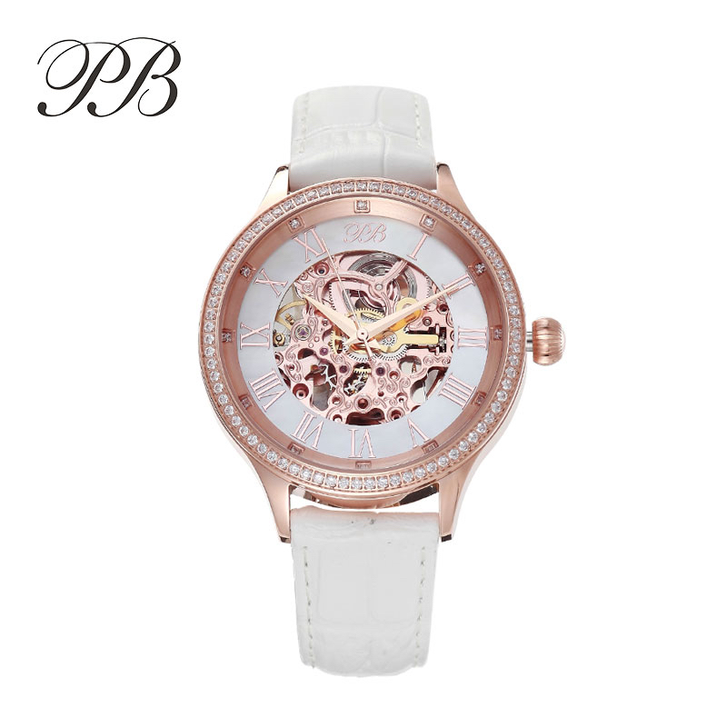 Luxury Brand PB Mechanical Watch Women Genuine Leather Strap Crystal Waterproof Automatic Watch Montre Marque Luxe Femme HL587