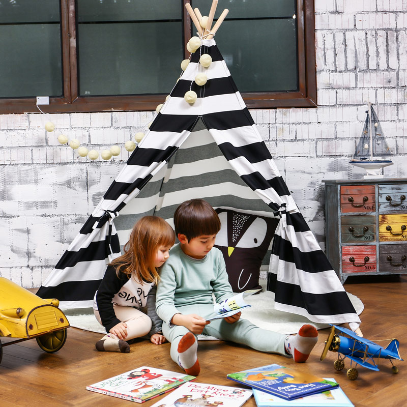 Children's Tent Cotton Canvas Tipi Stripe Teepees For Children Kids Tent Playhouse For Kids Child Cotton Tipi Indoor Teepee four poles kids play tent cotton canvas teepee children toy tent white pink blue playhouse for baby room tipi