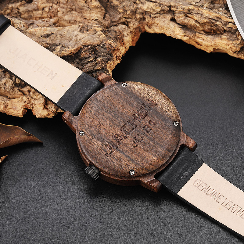 Creative Mens Walnut Wood Watch Male Wooden Leather Real Natural Rosewood Men Wrist Watch Men's Compass Turntable Wristwatch