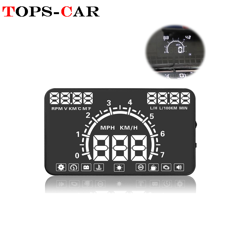 GEYIREN E350 Car HUD Head-Up Display OBD2 Digital Speedometer Windshield  Projector Overspeed Alarm For All Cars & Vehicles