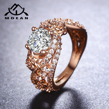 MDEAN Rose Gold Color Rings for Women Wedding Ring AAA Zircon Jewelry Bague Engagement Fashion Accessories szie 6 7 8 9 10MSR414