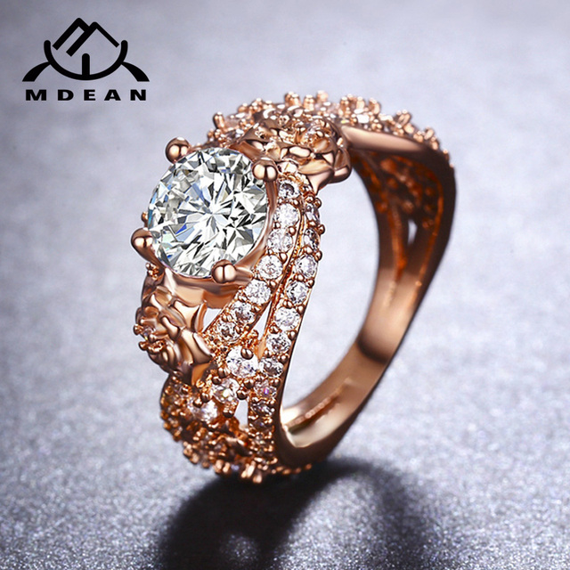 MDEAN Rosa Color Oro Anelli per Le Donne Wedding Ring AAA Zircone gioielli Bague Fidanzamento Accessori Moda szie 6 7 8 9 10MSR414