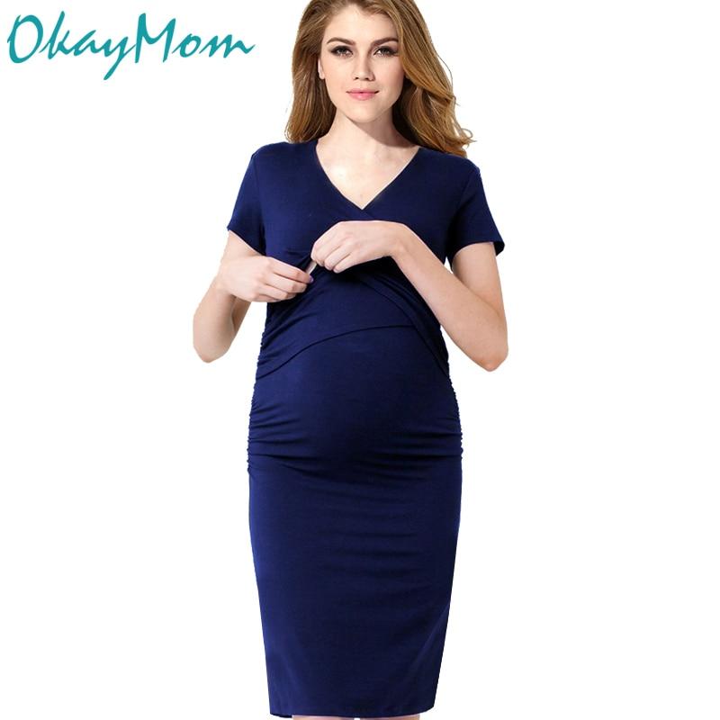 Euro America Sexy Maternity Nursing Dresses Pregnancy Nurse Wear Dress Cotton Pregnant -4181