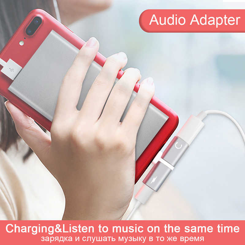 Cho iPhone 6 s 7 cộng với 7 XS Max 5 7 8 Cộng Với trường hợp 2 Trong 1 Kép Cổng Headphone adapter Điện Thoại Trường Hợp Sạc Âm Thanh Splitter Phụ Kiện