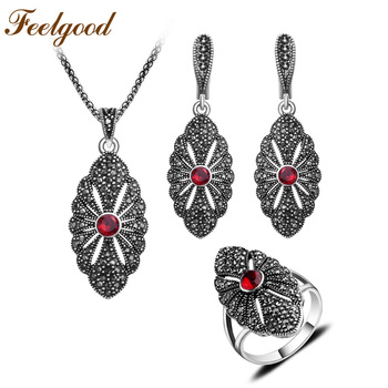 Feelgood Vintage Crystal Jewelry Set Women Party Fashion Pendant Necklace Sets High-quality Antique Silver Color Alloy Jewellery