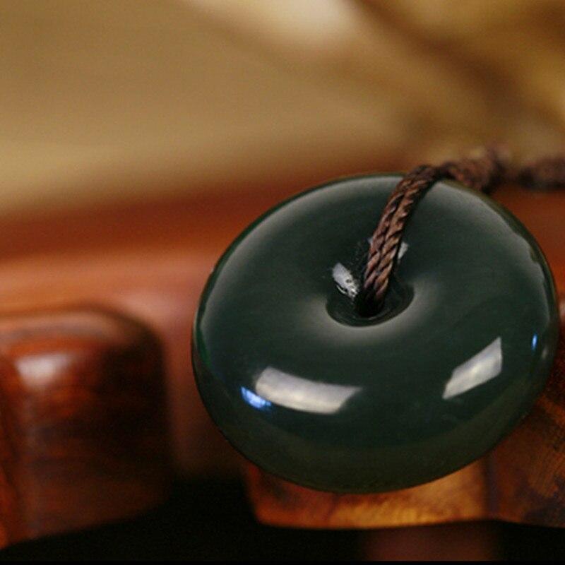 Натуральный зеленый Хотан нефриты камень кулон резной круглый мира пряжкой кулон Цепочки и ожерелья подарок Для мужчин Для женщин нефрит-к...