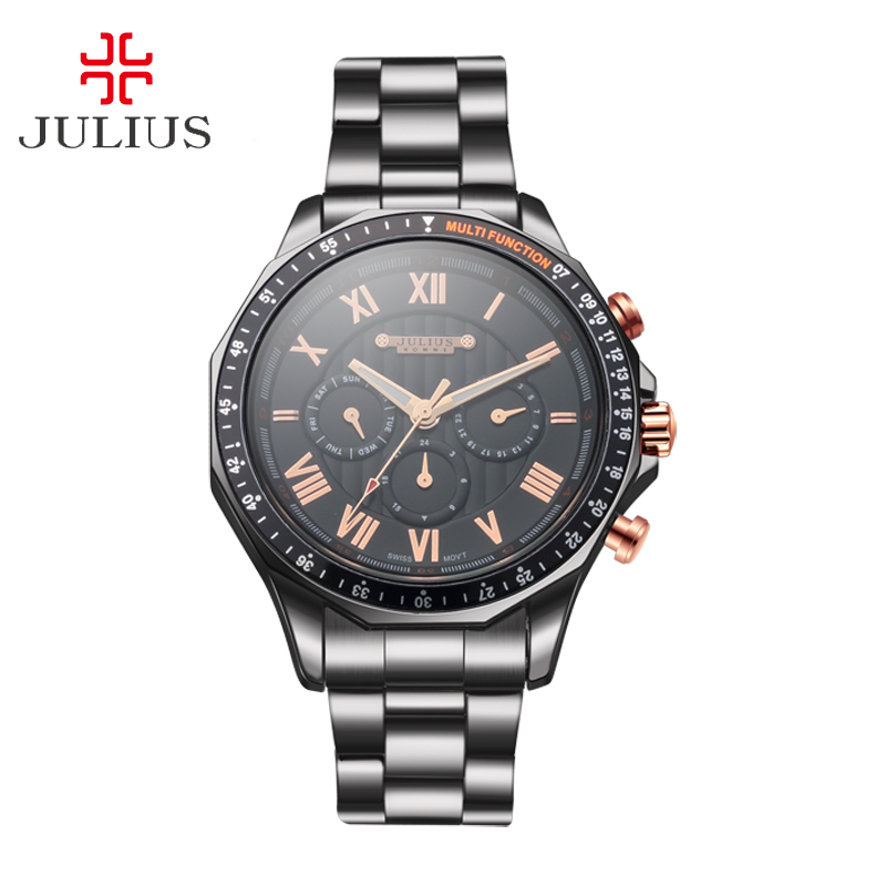 Real Date Calender Men's Watch ISA Mov't Hours Clock Business Dress Bracelet Stainless Steel Boy Birthday Gift Julius Box real multi functions big men s watch japan mov t hours business top homme clock stainless steel boy s birthday gift julius box