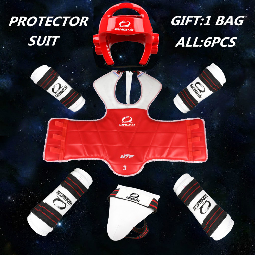 High Quality Taekwondo Protector Thickening WTF Approved 6pcs Chest Helmet Shinguards Armguards Groin Protection Adult Kids