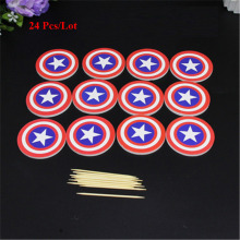 captain america shield topper cake party decoration supplies cupcake toppers kids children birthday superheroes