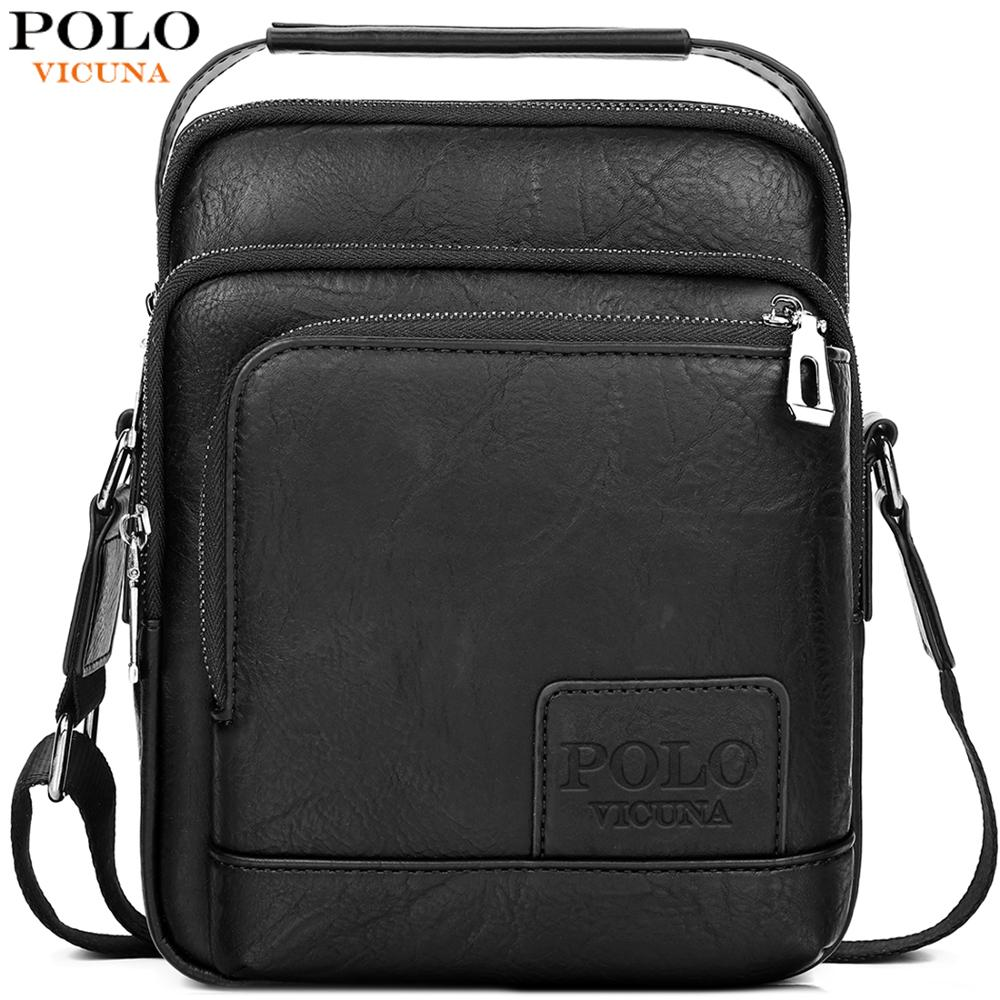 VICUNA POLO Leather Vintage Man Crossbody Bags Layered Design Brand Waterproof Bag Set Shoulder Bag Business Mens Messenger Bags