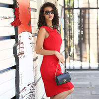Deviz Queen Office Dress Brand 2017 New Design Women S Elegant Sleeveless Lady Red Pencil Dress