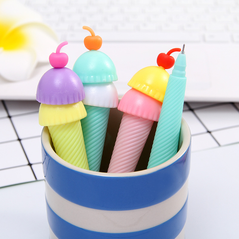 24pcs Novelty Korea Cherry Icecream Cone Cute Gel Ink Pens Kids Birthday Festival Party Favors Office Study Writing Material