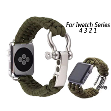Sport Strap For Apple Watch 4 Band 44mm 40mm iwatch band 4 3 2 1 42mm/38mm Survival Rope Metal Bolt Clasp Wrist Bracelet belt sport strap for apple watch 4 band 44mm 40mm iwatch band 4 3 2 1 42mm 38mm survival rope metal bolt clasp wrist bracelet belt