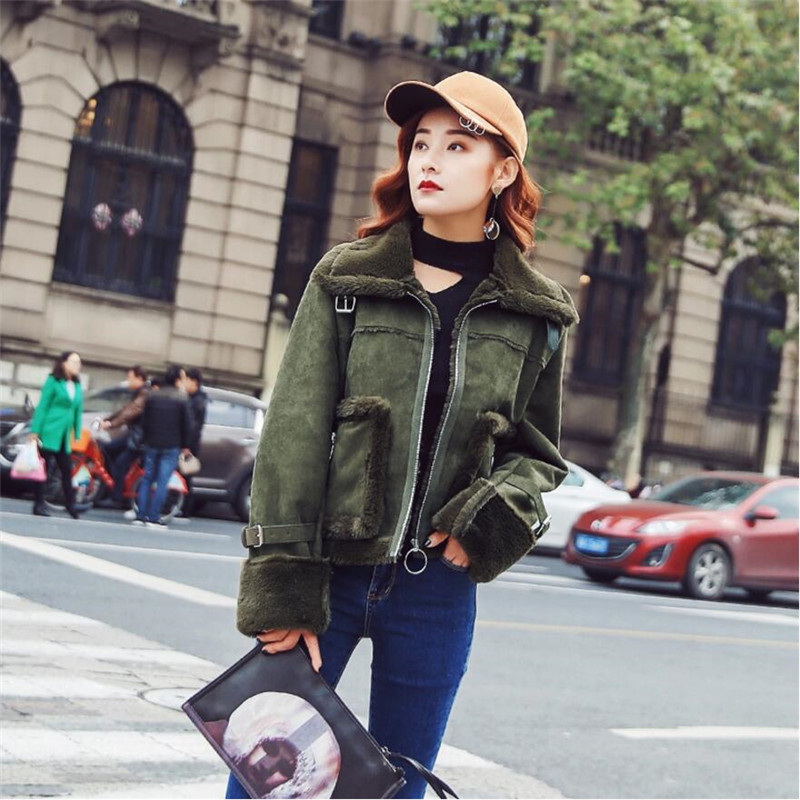 2019 Design   Suede     Leather   Coat Women Autumn Casual Slim Fit Lamb Wool Short Coats Female Zipper Thickening Faux   Leather   A4032