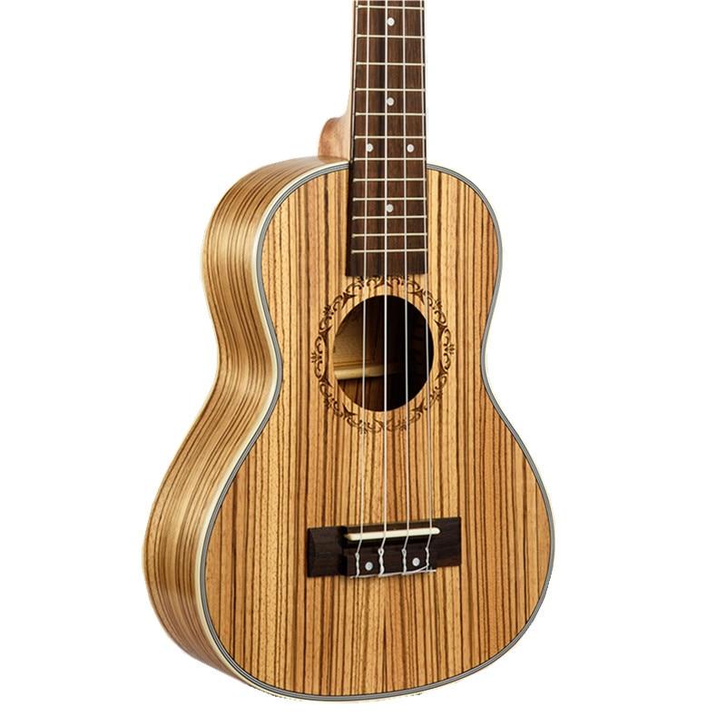 23 pulgadas Concert Ukulele Cebra madera Zebrano Hawaiano 4 Cuerdas Guitarra Elé