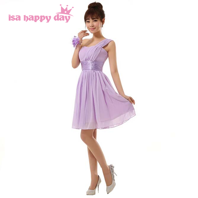 sister of the bride one strap lavender purple a-line sweet 16 short   prom     dresses   chiffon   dress   girls photo lace up back H2698