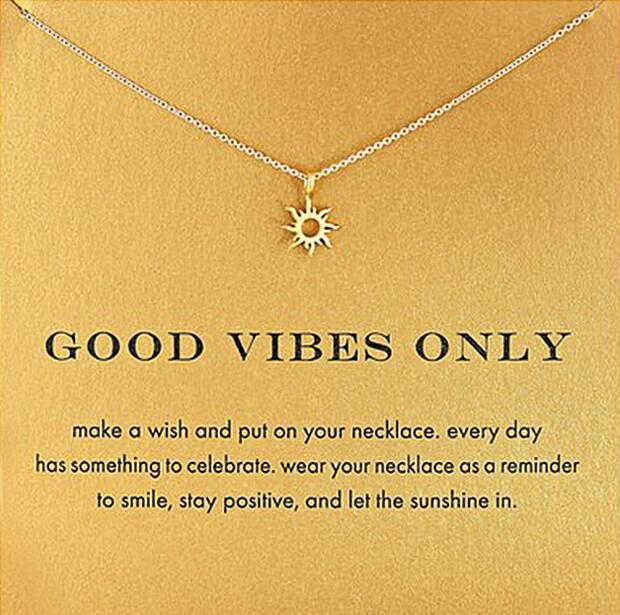56c6e2efb27bf6 Simple Fashion Women Gold Color Good Vibes Only Sun Chain Pendant Necklace  Birthday Gifts With Card-in Pendant Necklaces from Jewelry & Accessories on  ...