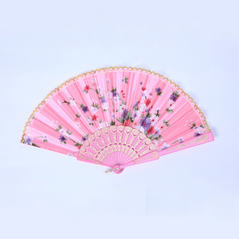 Chinese Flower Floral Fabric Lace Folding Hand Fan Dancing Wedding ...