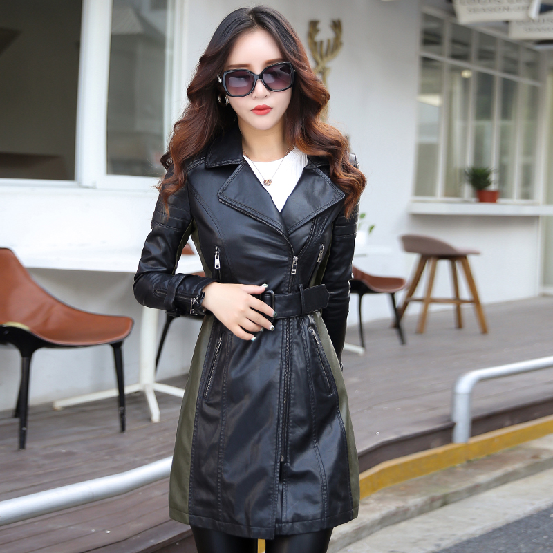 Leather Jacket Long Coat Female M-5XL Plus Size Fashion Turn Collar Patchwork Zipper Pockets Women's Leather Jacket 2017 New
