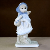 Vintage Porcelain Country Girl Sculpture Handmade Ceramics Homeward Maiden Statue Folk Tales Character Decor Gift Craft Ornament