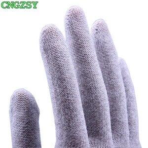 Image 4 - Gants de travail en nylon et fibre de carbone, 5 paires, sans électricité statique, portables, serrés, pour envelopper la voiture, teintes de fenêtre, outils auxiliaires, gants tricotés 5D08