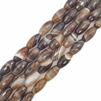 Natural Stone Brown Color Onyx Agates Rice Shape Faceted Beads Approx 10x20mm Loose Beads for DIY Jewelry 38cm