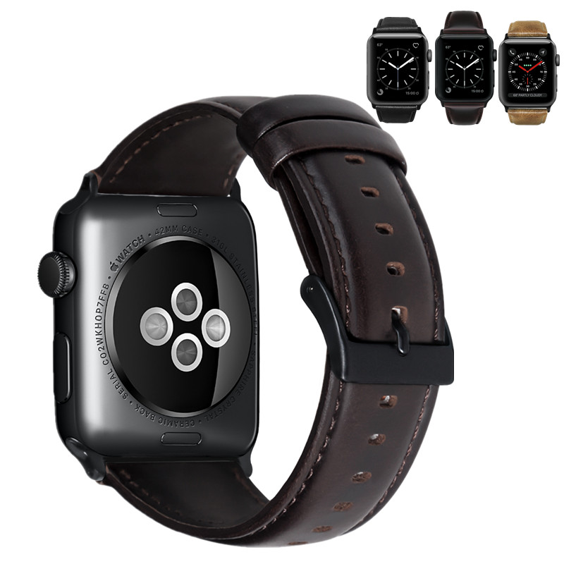 ASHEI Watch Wrist Bracelet Strap For Apple Watch Band Series 3 Leather 42mm 38mm Retro Vintage Watchbands For Iwatch Series 1/2