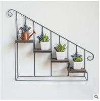 Plant shelf Retro iron art wooden staircase flower shelf multi storey floor type flower pot rack indoor living room