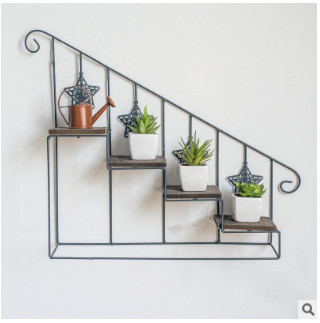 Plant Shelf Retro-iron-art Wooden Staircase Flower Shelf Multi-storey Floor-type Flower Pot Rack Indoor Living Room