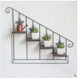 Plant shelf Retro-iron-art wooden staircase flower shelf multi-storey floor-type flower pot rack indoor living room