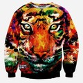 new style men/women's hoodies O-Neck long sleeve colours tiger printing 3d Sweatshirts