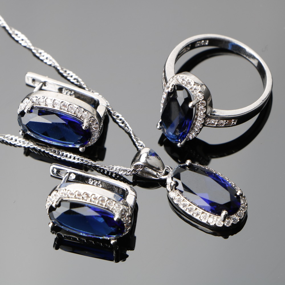 Charming Silver Dark Blue Top Aaa Wedding & Engagement Jewelry Jewelry & Accessories Clear Cubic Zirconia White Rhinestone Jewelry Sets Earrings/ring/pendant/necklace For Women And Digestion Helping