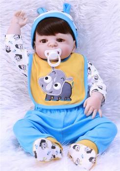 "23""57cm NPK FULL vinyl silicone reborn baby boy dolls toys for child gift  Bebes reborn Menino bonecas juguetes can bathe"