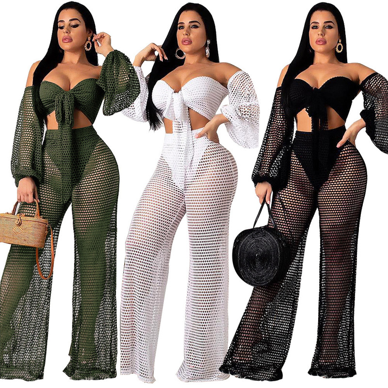 2019 New Spring And Summer Fashion Lantem Sleeves Hollow out Off Shoulder Crop Tops And Wide Legs Full Length Pants Set