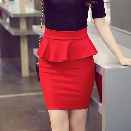 e0634e6578538 3XL 4XL 5XL Plus Size Peplum Skirt Office Lady Ruffle Skirt Women Sexy Mini  Skirt Pencil