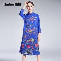 High End Floral Autumn Women Chinese Style Midi Dress Embroidery Dresses Elegant Slim Lady Blue Black