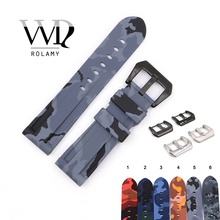 Rolamy Watch Band 22 24mm Waterproof Silicone Rubber Replacement Camo Grey Black Watchband Loops Strap For Pnerai Luminor Strap infantry soft silicone sports band 24mm rubber watchband waterproof watch strap replacement heavy duty accessories