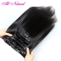 Ali Natural Malaysian Straight Hair Clip in Human Hair Extensions Natural Color Non Remy Hair Clip ins 120G 10Pcs/Set