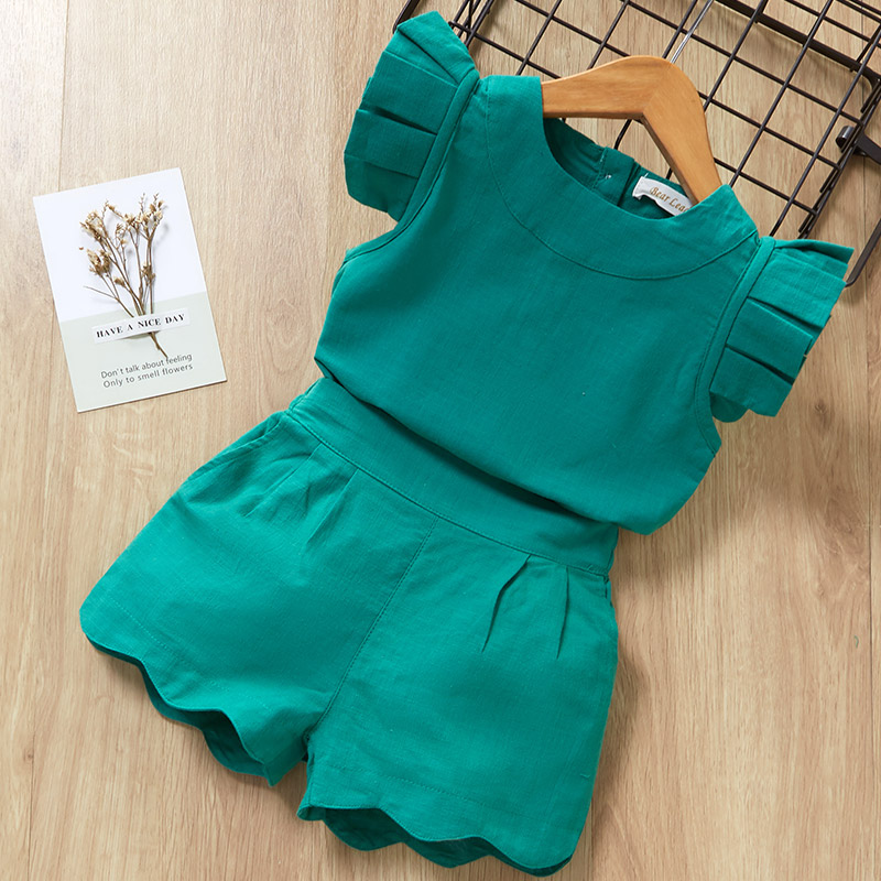 Solid Color Kids Toddler Girls Clothing <font><b>Sets</b></font> Kids <font><b>Baby</b></font> Girls Clothes Short Sleeve <font><b>TShirt</b></font>+Shorts Suit 2Pcs Children Girl Clothes image
