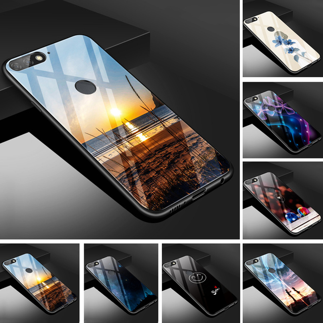 the latest 3fb7b a85fd US $4.99 |For Huawei Honor 7C 5.99 Case Glass Back Cover PC Protector Phone  Case For Huawei Y7 Prime 2018 honor7C 5.99