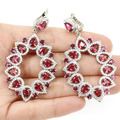 Long Big Pink Raspberry Rhodolite Garnet, White Cz SheCrown Created Woman's Wedding  Silver Dangle Earrings 62x33mm