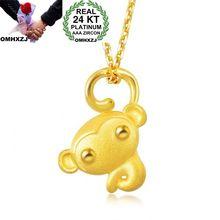 OMHXZJ Wholesale European Fashion Woman Man Party Wedding Gift Monkey 24KT Yellow Gold Necklace Pendant Charm CA262 olivia newton john 24kt gold record ltd edition display