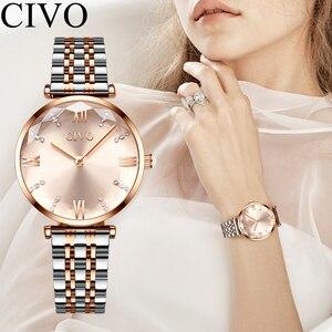 Image 5 - CIVO relojes de lujo a la moda con cristales, correa de acero impermeable para mujer, relojes de cuarzo de la mejor marca con diamantes de cristal, reloj para mujer