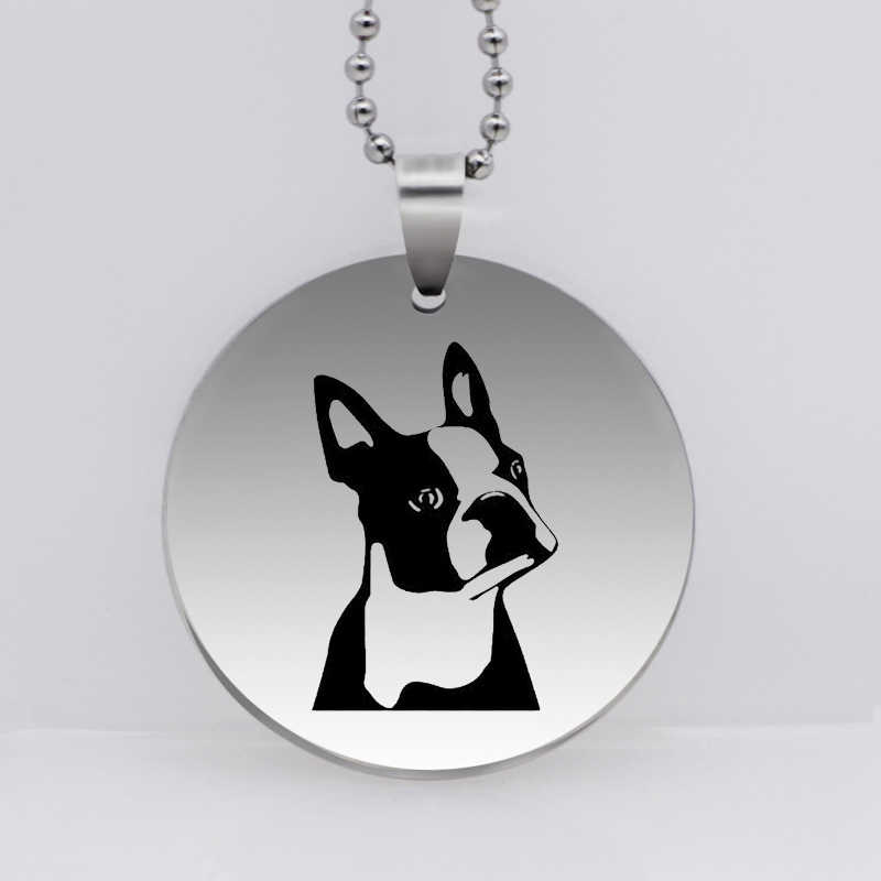 Stainless Steel Personality Boston Terrier Dog Pendant Necklace Cute Dog Jewelry Gift  Drop Shipping YLQ6160